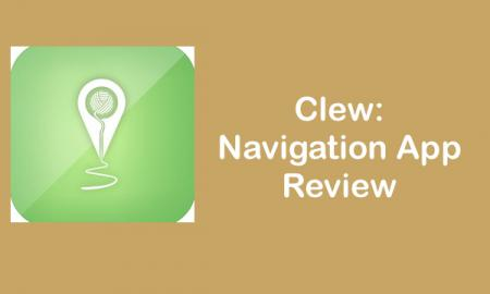 "App logo with Text, ""Clew: Navigation App Review"""