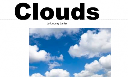 "Cover of the Clouds iBook with the text, ""Clouds, by Lindsey Lanier""."