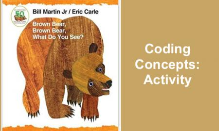 "Image of Brown Bear, Brown Bear book cover and text, ""Coding Concepts: Activity"""