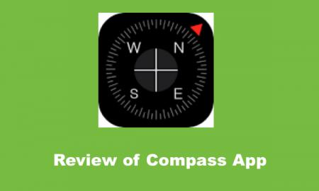 """Compass logo and text, """"Review of Compass App"""""""