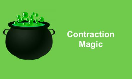 "Black witch's caldron with green bubbles and text, ""Contraction magic""."