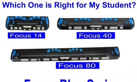 "Images of Focus 14, 40 and 80 with text, ""So Many Braille Displays, which one is right for my student? Focus Blue Series."""