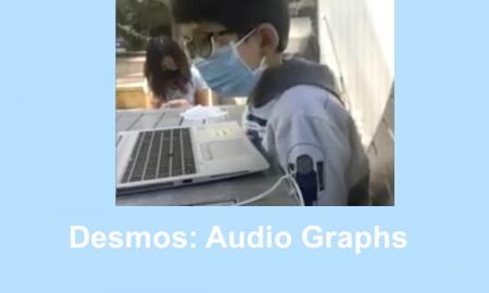 "Second grade boy wearing a mask learning over a computer listening to audio graphs. Text, ""Demos: Audio Graphs"""