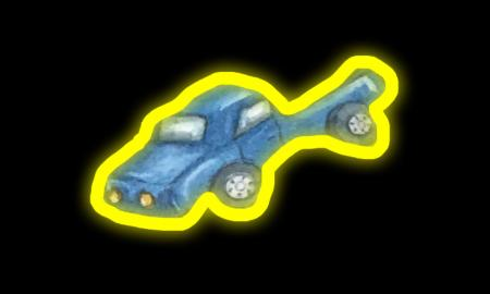 You Doodle screenshot of blue truck outline in yellow glow on black background.