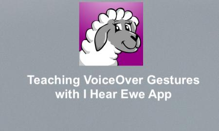 "I Hear Ewe logo and text, ""Teaching VoiceOver Gestures with I Hear Ewe App"""