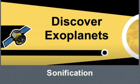 """Graphic with a space telescope, exoplanet and star. The exoplanet is blocking the starlight. Text, """"Discover Exoplanets"""""""