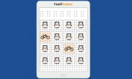 "Feelif Memory Game with 4 rows and 4 columns. Two ""cards"" are turned over showing bicycles. Other squares have Feelif logo."