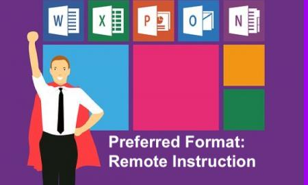 "Cartoon man with cape with logos (Word, Excel, Powerpoint, etc.) in background & text, ""Preferred format: Remote Instruction"""
