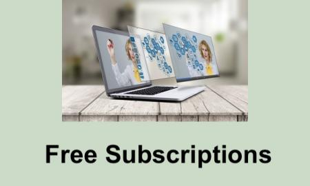 "Photo of computer with teacher writing symbols and text, ""Free subscriptions"""