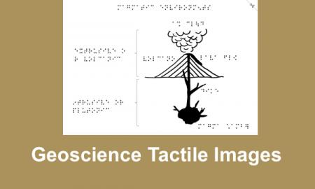 """Image of a magmatic environments (active volcano) with text, """"Geoscience Tactile Images"""""""