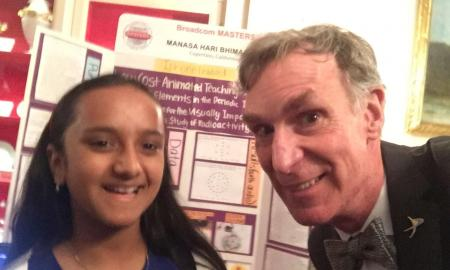 The image is of Hari with Bill Nye the Science Guy