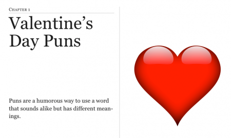 Screenshot of Valentine's Day Puns iBook with a red heart, title, and pun definition.