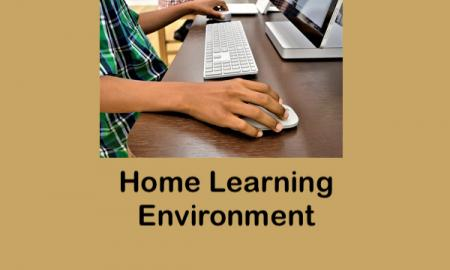 Student with hands on his computer mouse sitting at a table in a home learning environment with a sibling at a separate table.