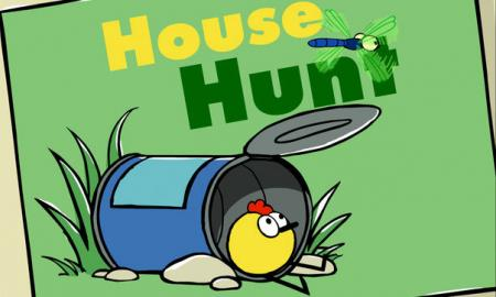 House Hunt Logo; image of cartoon Peep sitting in an overturned tin can and the words, 'House Hunt'.