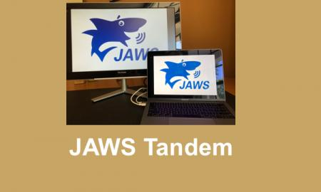 "Photo o JAWS logo on two devices with text, ""JAWS Tandem""."