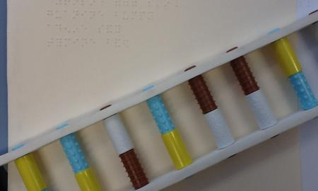 The image is of a Braille Key and the DNA Twist Model