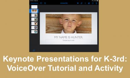 """Screenshot of All About Me keynote presentation and text, """"Keynote Presentations for K-3rd: VoiceOver Tutorial and Activity."""""""