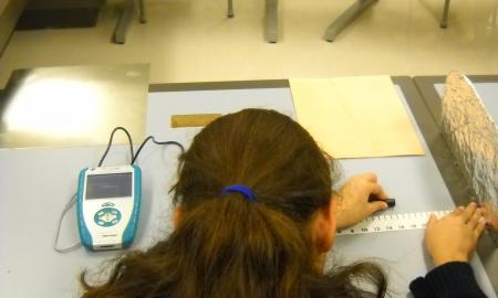 The image shows students using the LabQuest to measure magnetic field through the aluminum