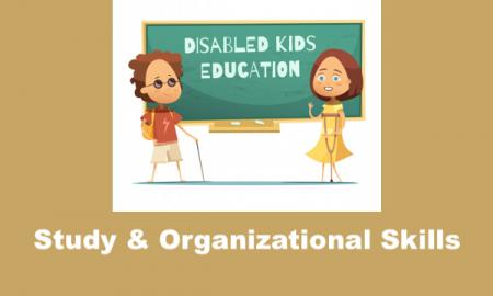 "Cartoon image of 2 students with disabilities and text, ""Study & Organization Skills"""