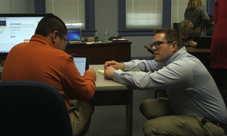 MAP field testing at GMS: Brian listening to an 8th grader who just completed MAP assessment on an iPad with VoiceOver