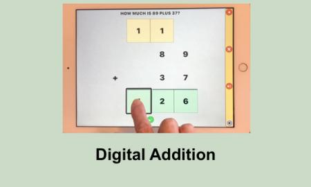 "Screenshot of 89+37 addition problem in Math Melodies app, and text, ""Digital Addition"""