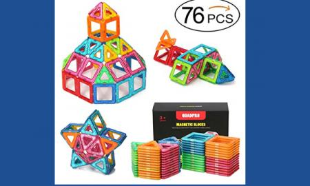Quadro Pro Magnetic blocks: 3D shapes of a star, plane, and building with a steeple.