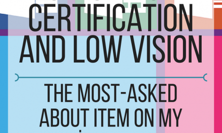 Microsoft Office Specialist Certification and Low Vision - the most asked about item on my resume.  www.veroniiica.org