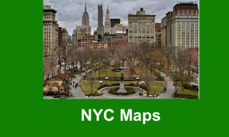 "Photo of Union Square with statue instate in the foreground and high-rise buildings in the background. Text, ""NYC Maps"""