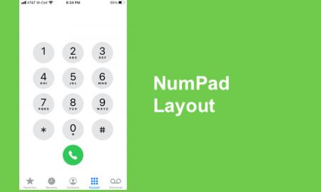 "Screenshot of iPhone phone app displaying a numpad and text, ""Numpad Layout"""