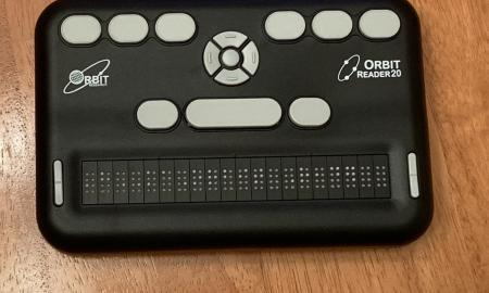 Orbit Reader 20 refreshable braille display with a 20 cell display.