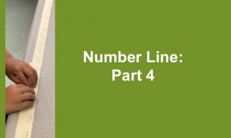 "Photo of Logan's hands on a long number line and text, ""Number Lines: Part 4"
