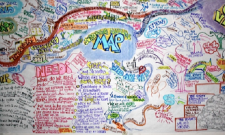 Image of a whiteboard cluttered with notes