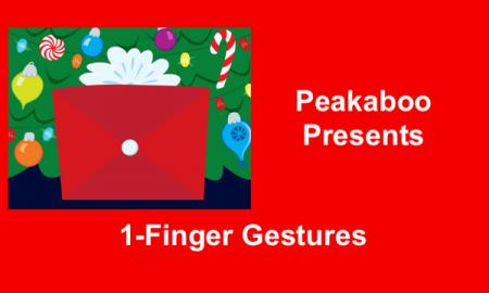 """Image of red wrapped present in front of a Christmas tree and text, """"Peakaboo Present: 1-finger Gesture"""""""