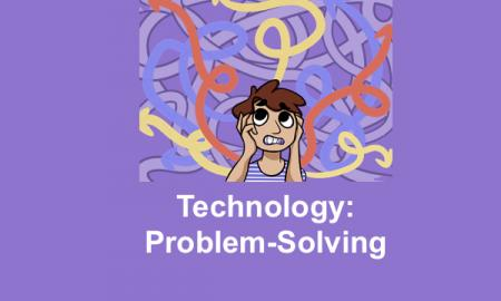 """Cartoon character of a boy rolling his eyes and pulling out his hair. Text, """"Technology: Problem-solving"""""""