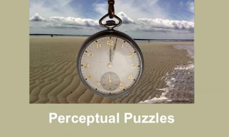 "Image of an old-fashioned pocket watch with beach scene in the background with text, ""Perceptual Puzzles"""