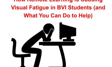 """Silhouette image of a dejected person leaning over a desk and computer with text, """"How Remote Learning is Causing Visual Fatigue"""