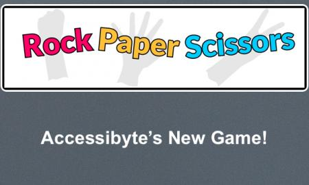 "Game Logo with Rock, Scissors, Paper in print and hand gesture; text, ""Accessibyte's New Game!"""