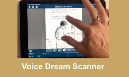 Image of scanned PDF with images in Voice Dream Reader; two fingers pinching to zoom in on image.