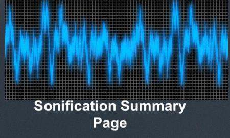 """Image of a sound wave with text, """"Sonification Summary Page"""""""