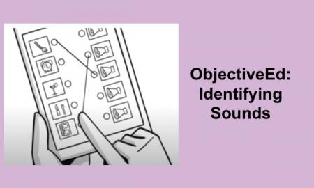 """Sound Search game: Matching an item in the first column with it's sound in the second column. """"ObjectiveEd: Identifying Sounds"""""""