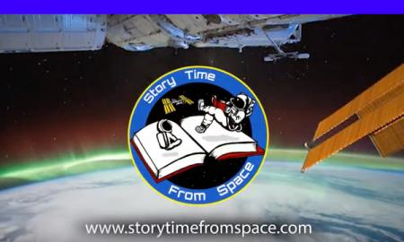 Story Time from Space logo with a space background and edge of earth with www.StoryTimefromSpace.com