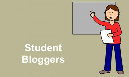 "Cartoon image of girl holding a document pointing to a white board and text, ""Student Bloggers"""