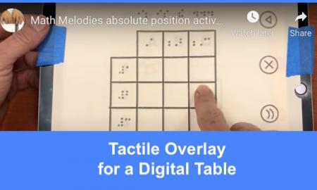 """Fiinger dragging across a tactile table overlay on the iOS game, Absolute Positions; text, """"Tactile Overlay for a Digital Table"""""""