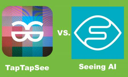 """Logos of TapTapSee and Seeing AI apps with Text, """"TapTapSee vs. Seeing AI"""""""