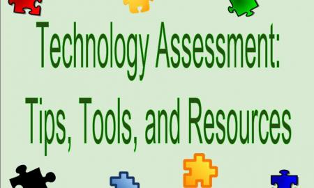 "Image wth puzzle pieces and text, "" Technology Assessment, Tips, Tools, and Resources""."