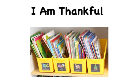 Cover page of a digital book titled I am Thankful with an image of four book boxes lined up next to each other on a shelf.
