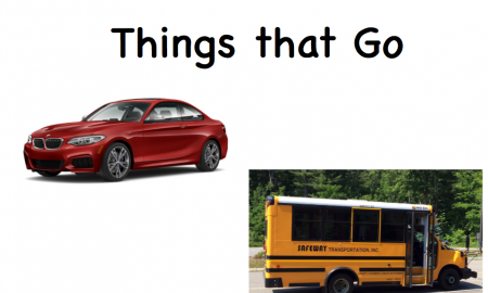 """Image of book cover with a red sports car and a small yellow school bus with text, """"Things that Go"""""""
