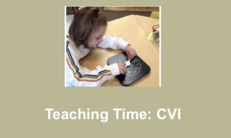 "Photo of Sadie with hands on the hour and minutes clock hands and text, ""Teaching Time: CVI"""