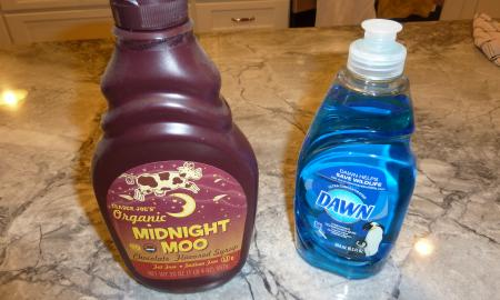Chocolate syrup and liquid detergent