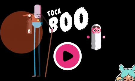 "Screenshot of Toca Boo app showing a white ghost, tall cartoon character, play button and the words, ""Toco Boo""."